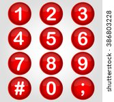 icon red buttton number vector