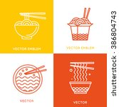 vector chinese and asian food... | Shutterstock .eps vector #386804743