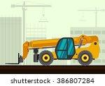 telescopic handler with fork... | Shutterstock .eps vector #386807284