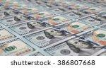 uncut sheet of printed 100 ... | Shutterstock . vector #386807668