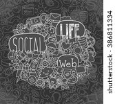hand drawn social network... | Shutterstock .eps vector #386811334