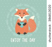 enjoy the day card with a cute... | Shutterstock .eps vector #386813020