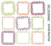 set of 9 decorative square... | Shutterstock .eps vector #386820730