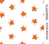 vector cute cartoon fox... | Shutterstock .eps vector #386820970
