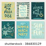 summer hand drawn calligraphyc... | Shutterstock .eps vector #386830129