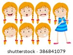 girl with blond hair with many... | Shutterstock .eps vector #386841079