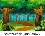 forest scene with trail in the... | Shutterstock .eps vector #386850679