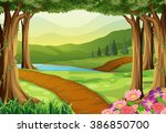 nature scene with river and... | Shutterstock .eps vector #386850700