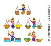 thailand women street food... | Shutterstock .eps vector #386850934