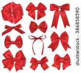 realistic red gift ribbon | Shutterstock .eps vector #386858590