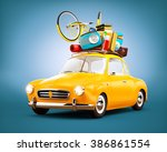 retro car with luggage. unusual ... | Shutterstock . vector #386861554