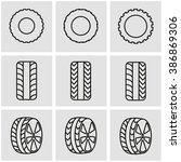 vector line tire icon set. | Shutterstock .eps vector #386869306