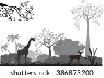 Stock vector  savannah and animals of it silhouettes trees grass grey black 386873200