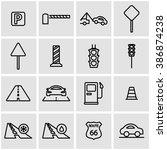 vector line road icon set.