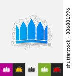crown paper sticker with hand... | Shutterstock .eps vector #386881996