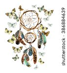 Dream catcher with feathers and butterflies. Watercolor ethnic dreamcatcher. Hand painted illustration for your design