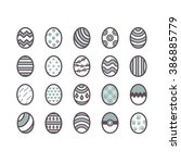 collections of easter eggs...   Shutterstock .eps vector #386885779