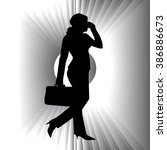 banner  silhouette of a woman...   Shutterstock .eps vector #386886673