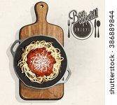 retro vintage style spaghetti... | Shutterstock .eps vector #386889844