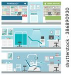 healthcare and clinics banner... | Shutterstock .eps vector #386890930