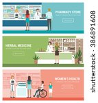 healthcare  pharmacy and... | Shutterstock .eps vector #386891608