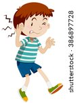 boy hurting his ear illustration | Shutterstock .eps vector #386897728