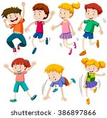 boys and girls in different... | Shutterstock .eps vector #386897866