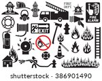 firefighter icons and symbols... | Shutterstock .eps vector #386901490