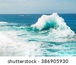 Turquoise Ocean Wave Breaking...