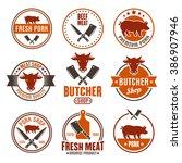 butcher shop  fresh meat  beef...   Shutterstock .eps vector #386907946