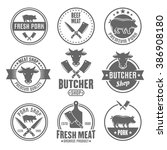 butcher shop  premium quality... | Shutterstock .eps vector #386908180