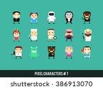 set of pixel art characters... | Shutterstock .eps vector #386913070