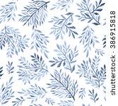 abstract foliate watercolor... | Shutterstock . vector #386915818
