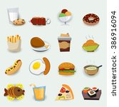 set of icons with fast food. | Shutterstock .eps vector #386916094
