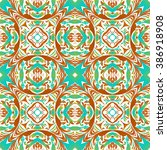 mexican stylized talavera tiles ... | Shutterstock .eps vector #386918908