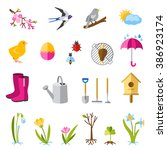 set of color spring icons.... | Shutterstock .eps vector #386923174