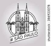 vector line sao paulo badge | Shutterstock .eps vector #386923378