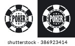 vector poker chip icon. two... | Shutterstock .eps vector #386923414