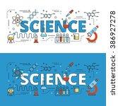 science lettering flat line... | Shutterstock .eps vector #386927278