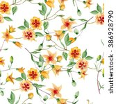 seamless pattern with flowers... | Shutterstock . vector #386928790
