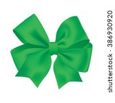 realistic green gift ribbon | Shutterstock .eps vector #386930920