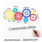 gears and communication... | Shutterstock . vector #386939299