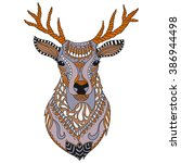 Deer Head Tattoo. Ornate...