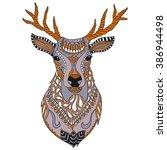Deer Head Tattoo. Ornate...