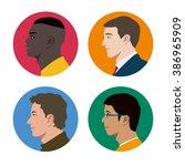 various races men profile icon... | Shutterstock .eps vector #386965909