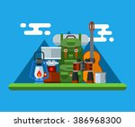 hiking elements and accessories ... | Shutterstock .eps vector #386968300