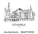istanbul  turkey   hagia sophia ... | Shutterstock .eps vector #386974900