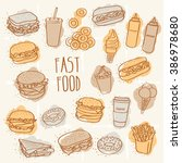 fast food set | Shutterstock .eps vector #386978680