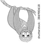 vector zentangle sloth print... | Shutterstock .eps vector #386980618