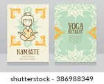 cards template for yoga retreat ... | Shutterstock .eps vector #386988349